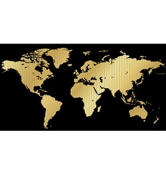Map of the world made of corrugated gold on a vector