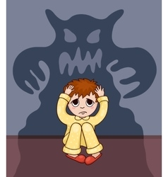Little boy and his fear vector