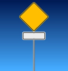 Blank road sign on blue sky vector