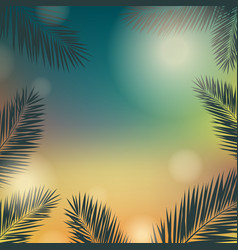 Banner summer time with palm trees vector