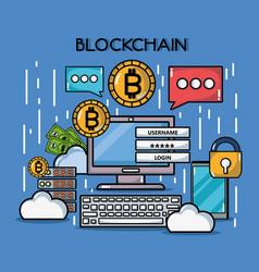 Blockchain cubes digital security technology vector