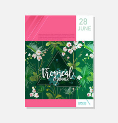 brochure template tropical orchid flowers graphic vector image