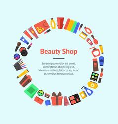 Cartoon beauty cosmetics store banner card circle vector