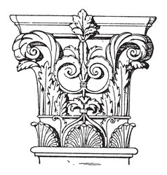 Corinthian pilaster capital or slenderest vintage vector