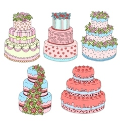 Hand drawn set with cute triple birthday vector image