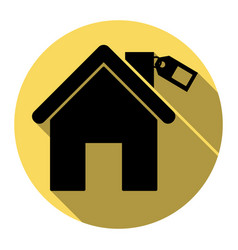 home silhouette with tag flat black icon vector image vector image
