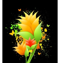 Ink with orange flowers vector