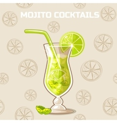 Mojito cocktails Set of food and drink vector image