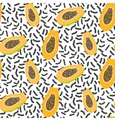 Orange papaya on white dashed seamless pattern vector