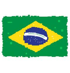 pixelated flag of brazil vector image vector image