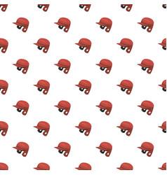 Red baseball helmet pattern vector