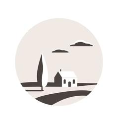 Rural landscape icon vector