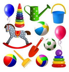 set toys for young children ball swing rocking vector image vector image