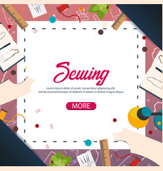 Tailor and seamstress banner sewing kit vector