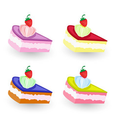 tasty pieces cakes vector image