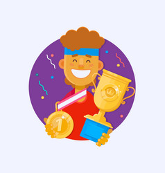 victory concept man holding golden bowl fnd medal vector image