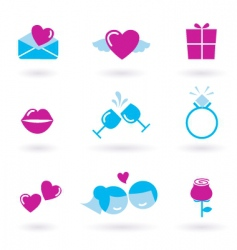 Wedding icons pink vector
