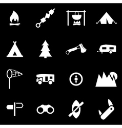 white camping icon set vector image vector image