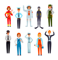 Women professions flat characters set vector