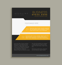 yellow and black business brochure flyer poster vector image vector image