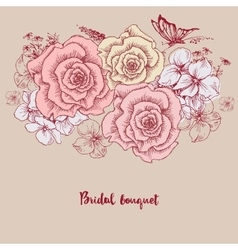 Bridal bouquet Pink roses floral greeting card vector image