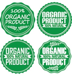 Organic product 100 natural green signs set vector