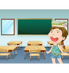 A young girl inside a classroom vector