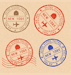 New york mail stamps collection faded colored vector
