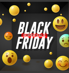 Black friday super sale poster with emoticons vector