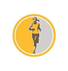 Female triathlete marathon runner circle retro vector