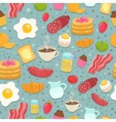 Cute seamless pattern with breakfast food vector