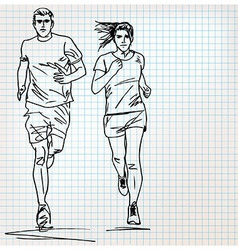 Female and male runner sketch vector