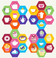 Tea time tea cups pots vector