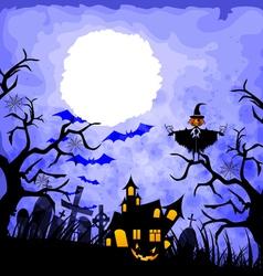 halloween blue background vector image