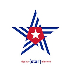Abstract design element star with cuba flag vector