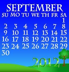 September 2012 landscape calendar vector