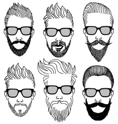 Hipster faces with beard set vector