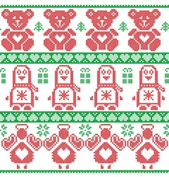Red green scandinavian vintage christmas pattern vector