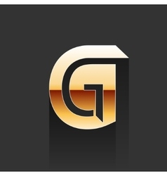 Gold letter g shape logo element vector