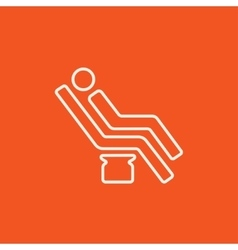 Man sitting on dental chair line icon vector