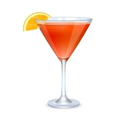 Martini glass with orange cocktail vector