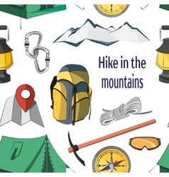 Hike in the mountains pattern vector