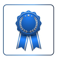 Ribbon award icon blue 2 vector