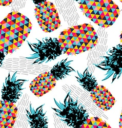 Summer seamless pattern with color retro pineapple vector