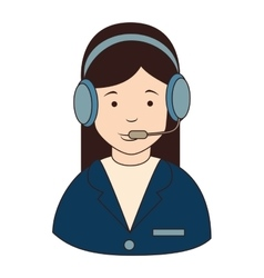 Woman callcenter headphones icon vector