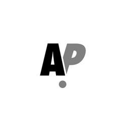 ap a p black white grey alphabet letter logo icon vector image vector image