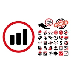 Bar Chart Increase Flat Icon with Bonus vector image