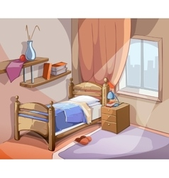 Bedroom interior in cartoon style vector