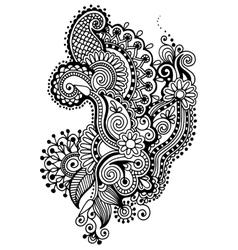 black line art ornate flower design collection vector image