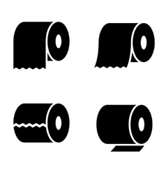 black toilet paper icons set vector image